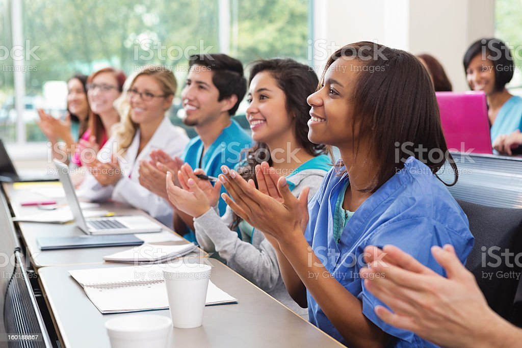 Diverse group of medical or nursing school college students royalty-free stock photo