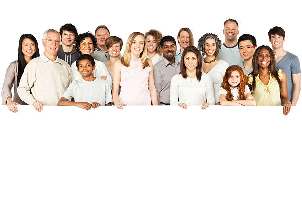 Diverse Group of People Holding a Sign - Isolated stock photo