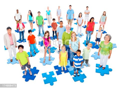 671270528 istock photo Diverse group of people on jigsaw puzzle pieces 174958473
