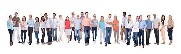 gruppo eterogeneo di persone - fare la fila foto e immagini stock