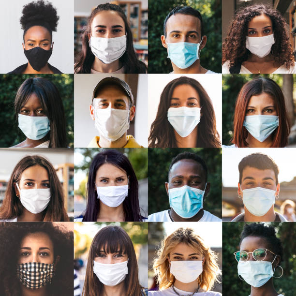 Diverse group of people portraits with surgical masks stock photo