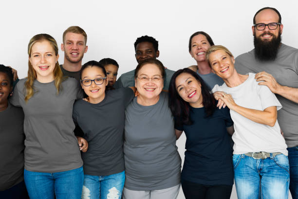 Diverse Group of People Together Studio Portrait stock photo