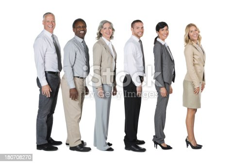 istock Diverse group of people wearing business suits standing in row 180708270