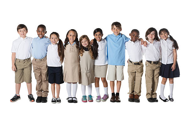 diverse group of private school students; studio shot - private school stock photos and pictures