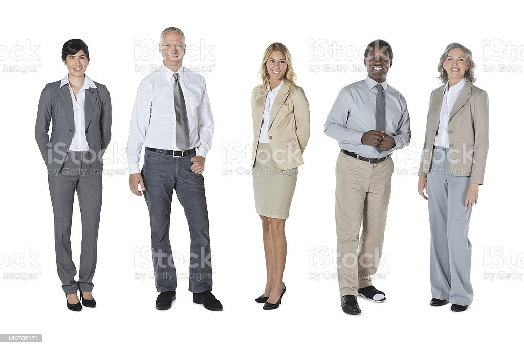 Diverse group of professional business people in line; studio shot royalty-free stock photo