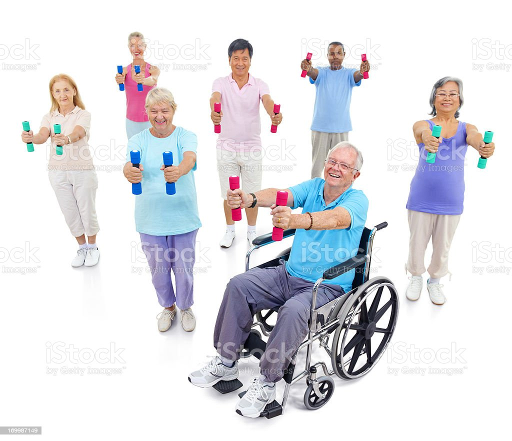 Diverse group of seniors lifting weights. royalty-free stock photo
