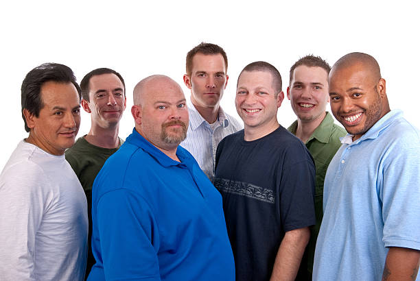 Diverse Group of Seven Males stock photo