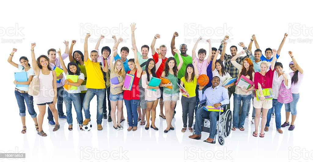Diverse group of student celebrating royalty-free stock photo