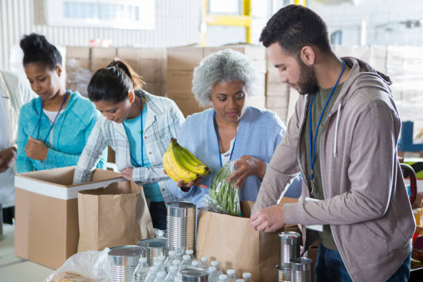Diverse group of volunteers in food bank Happy group of people work together in food bank. They are sorting through donated food items. food drive stock pictures, royalty-free photos & images