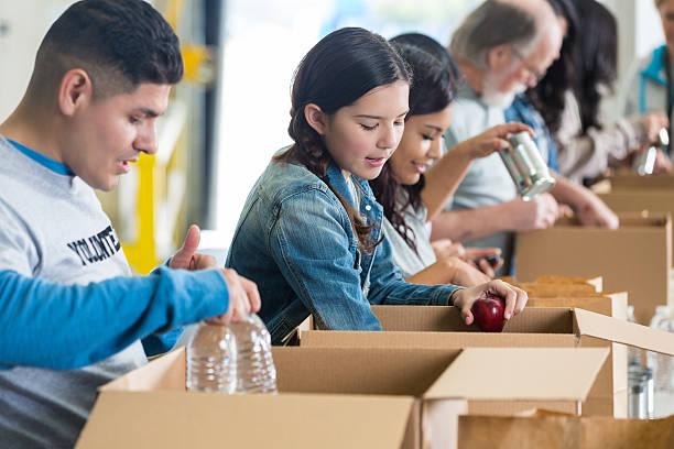 grande grupo de voluntários classificação comida doações em caixas - charity and relief work - fotografias e filmes do acervo