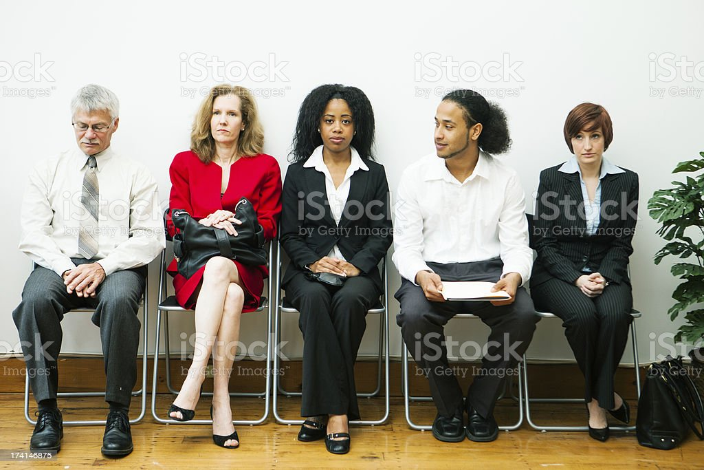 Diverse group waiting for an interview royalty-free stock photo