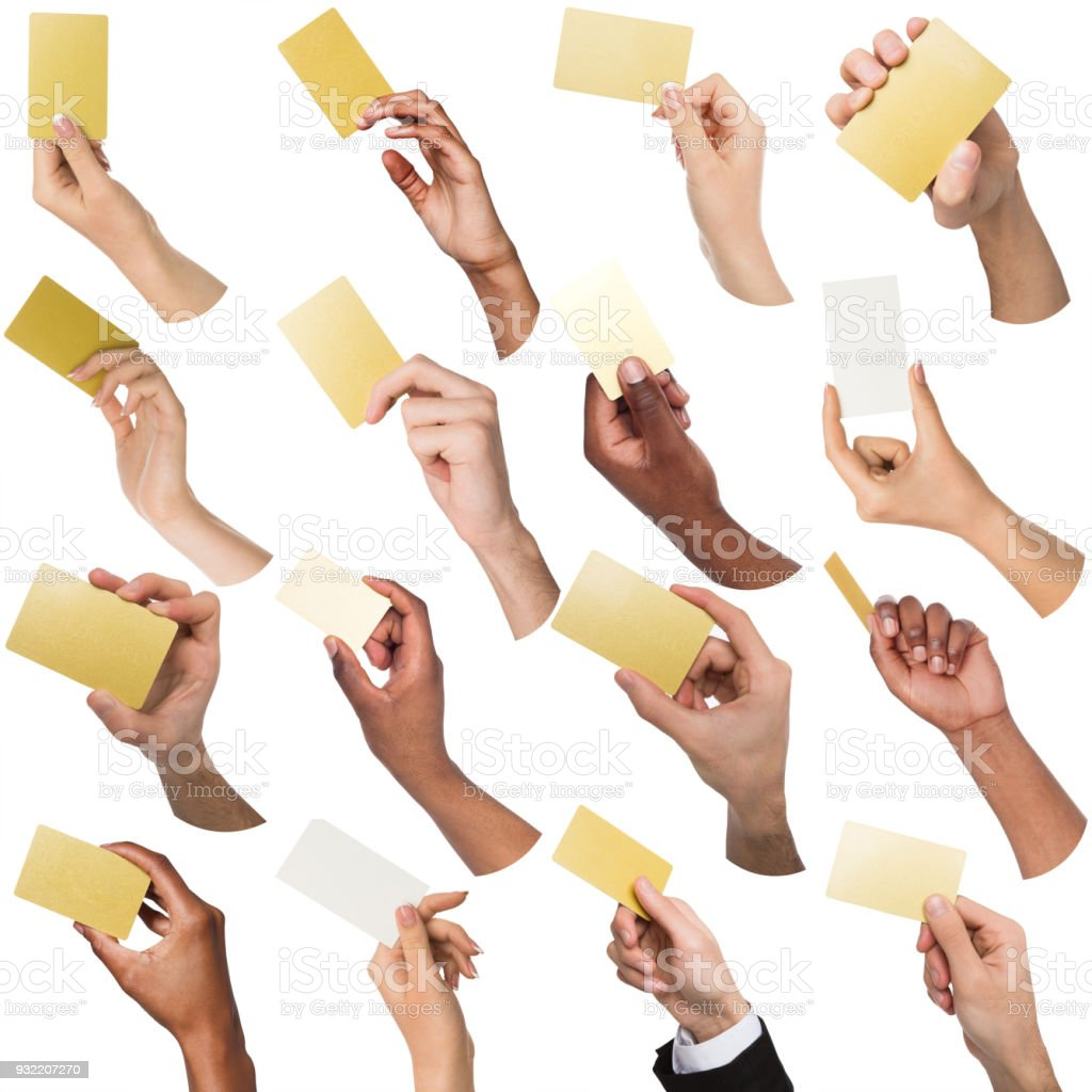 Diverse hands with business cards. Set, isolated on white. stock photo