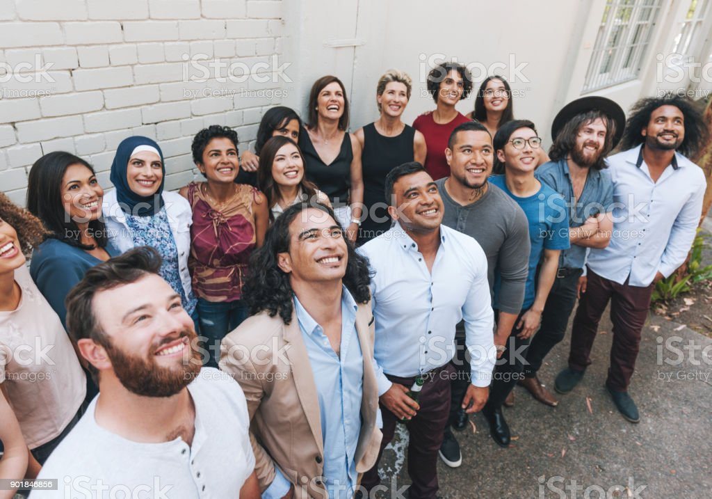 Diverse happy people together on one place stock photo