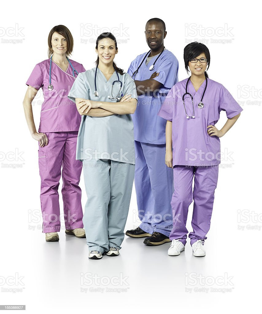 Diverse Healthcare Workers (Isolated on White) royalty-free stock photo