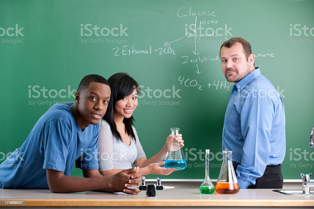 Diverse High School Science Class. royalty-free stock photo
