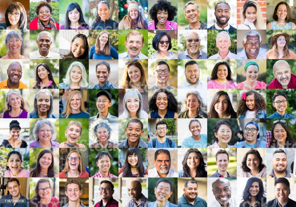Olika mänskliga ansikten - Royaltyfri 30-39 år Bildbanksbilder
