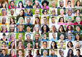 A diverse collection of human portraits, all are positive or smiling, laughing.