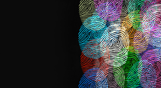Diverse identity and privacy concept or personal private data symbol as finger prints or fingerprint icons and diversity census population in a 3D illustration style.