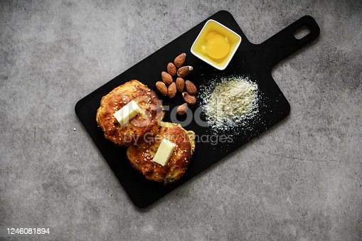 Keto bagels with almond flour and cheese, Quebec, Canada