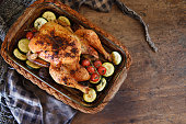 Keto whole roasted chicken with tomatoes and zucchini, Quebec, Canada