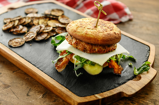 Burger with Keto flatbreads with almond flour, Quebec, Canada