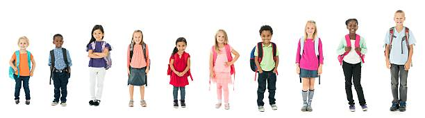 Diverse Kids Backpacks stock photo