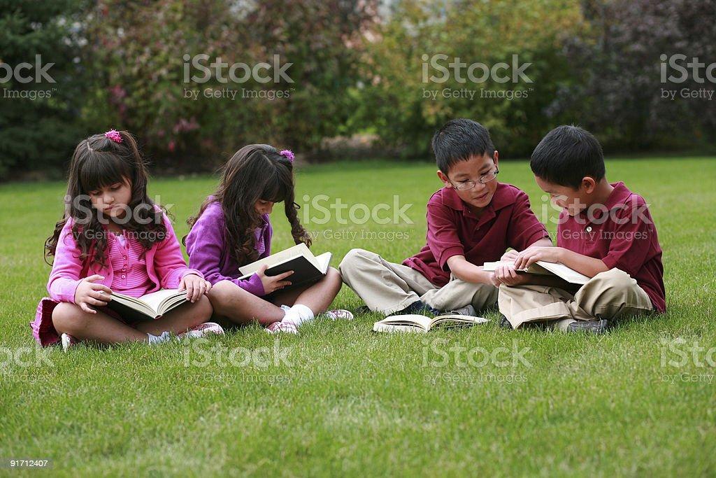 Diverse Kids Reading stock photo