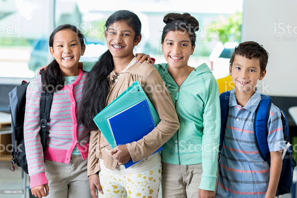 Diverse male and female middle school students in classroom stock photo