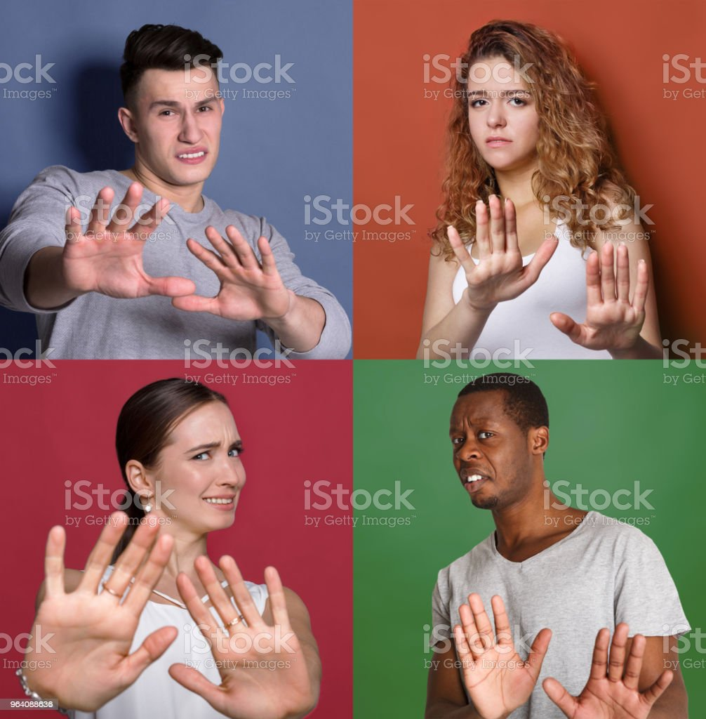 Diverse male and female portraits saying thanks but no - Royalty-free Adult Stock Photo