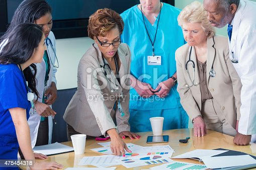 istock Diverse medical team or board reviewing hospital financial information 475454318