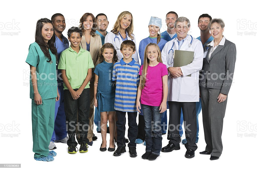 Diverse medical team with children on white background royalty-free stock photo