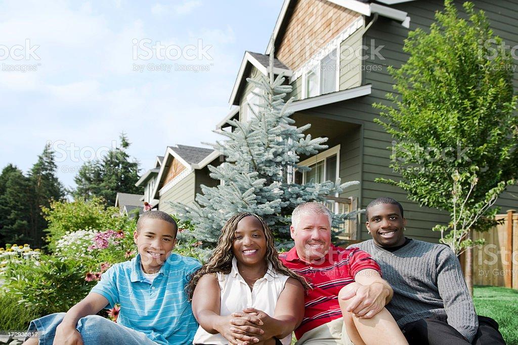 Diverse mixed race family royalty-free stock photo