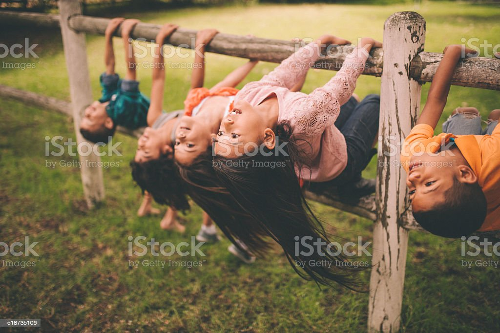 Diverse mixed racial group of children on fence in park stock photo