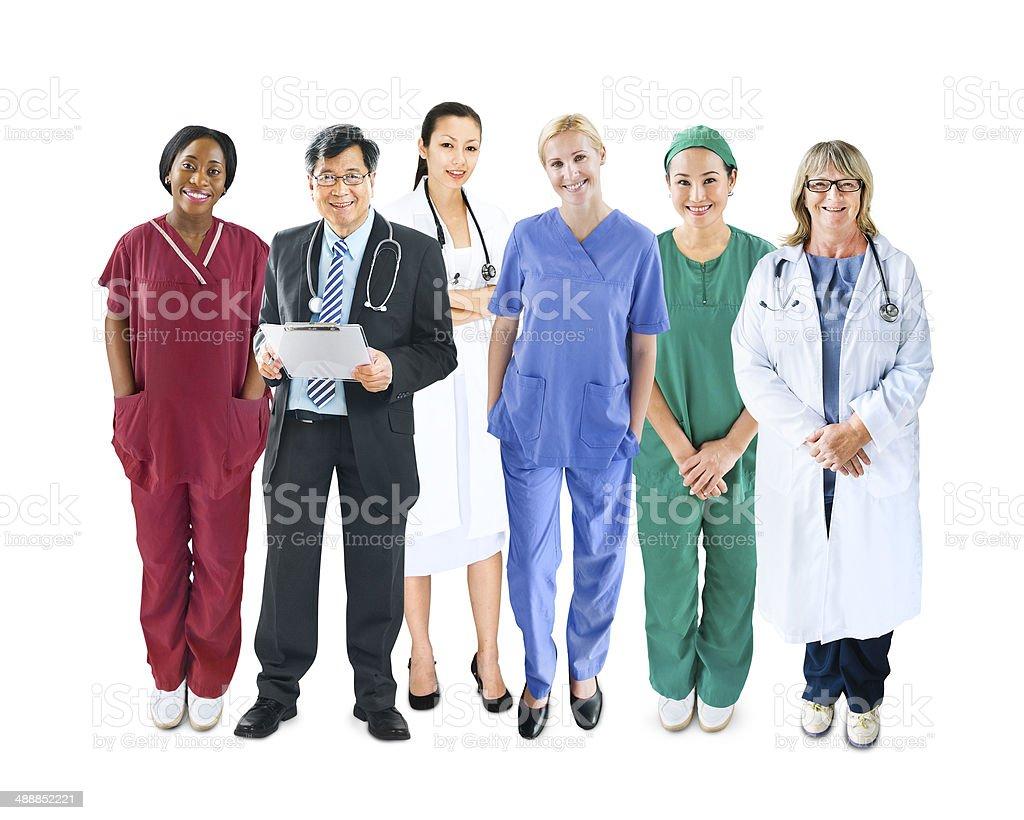 Diverse Multiethnic Cheerful Medical Team stock photo