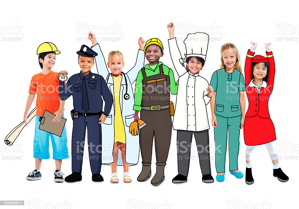 Diverse Multiethnic Children with Different Jobs stock photo