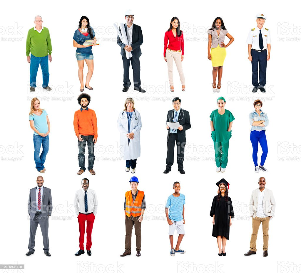 Diverse Multiethnic People with Different Jobs stock photo