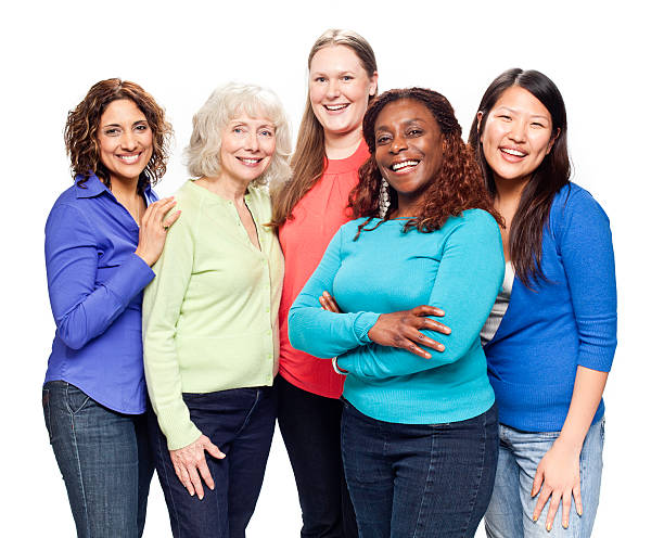 Diverse Natural Women with Beautiful Smiles stock photo