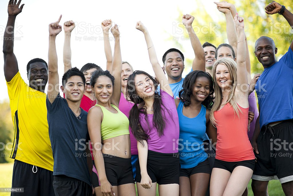 Diverse Outdoor Fitness Group royalty-free stock photo