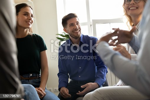 511741068 istock photo Diverse people attending at group therapy session listening psychologist counsellor 1201798761