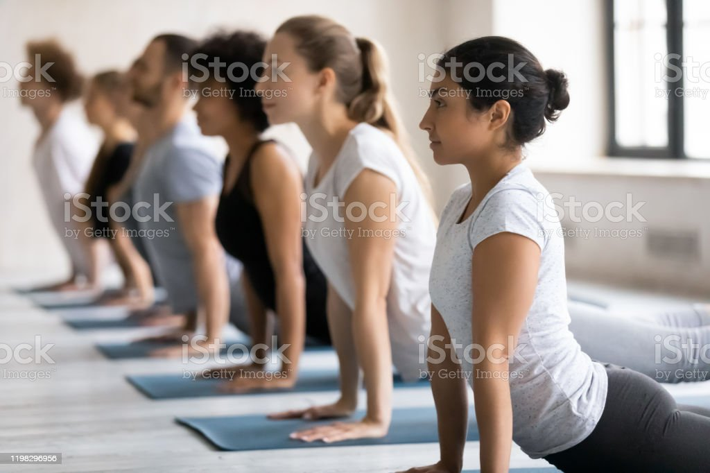 Diverse People Doing Upward Facing Dog Exercise Practicing Yoga Stock Photo Download Image Now Istock