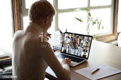istock Diverse people engaged at online group meeting computer screen view 1220218284