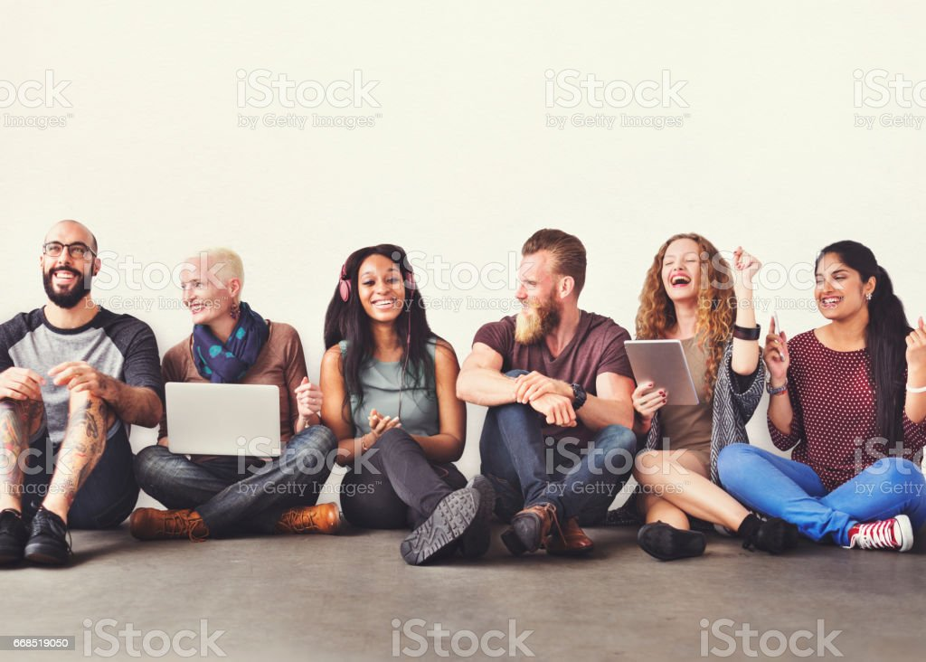 Diverse People Friendship Digital Device Connection Concept stock photo