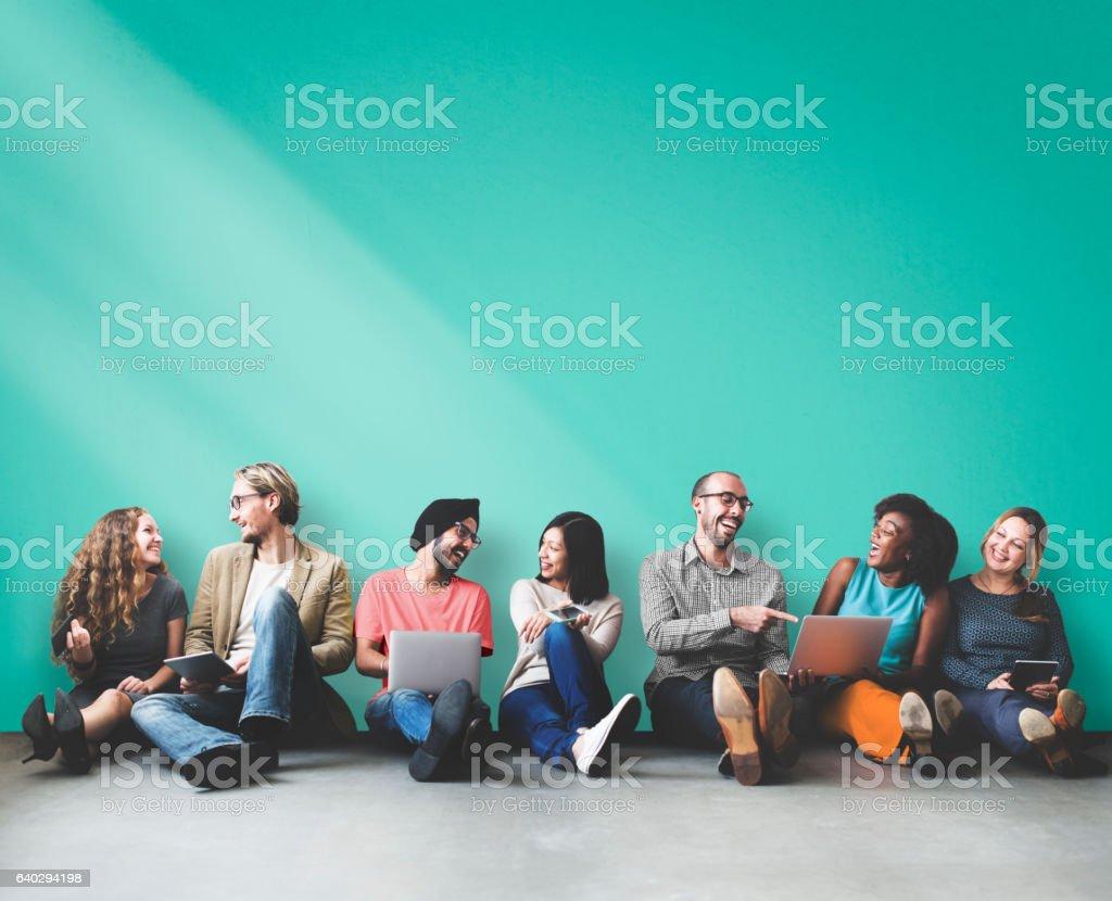 Diverse People Friendship Digital Device Copy Space Concept stock photo