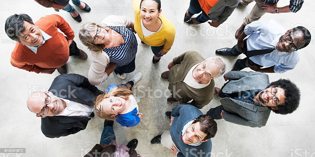 Diverse People Friendship Togetherness Happiness Aerial View Con stock photo