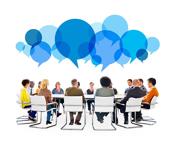 Diverse People in Meeting With Speech Bubbles stok fotoğrafı