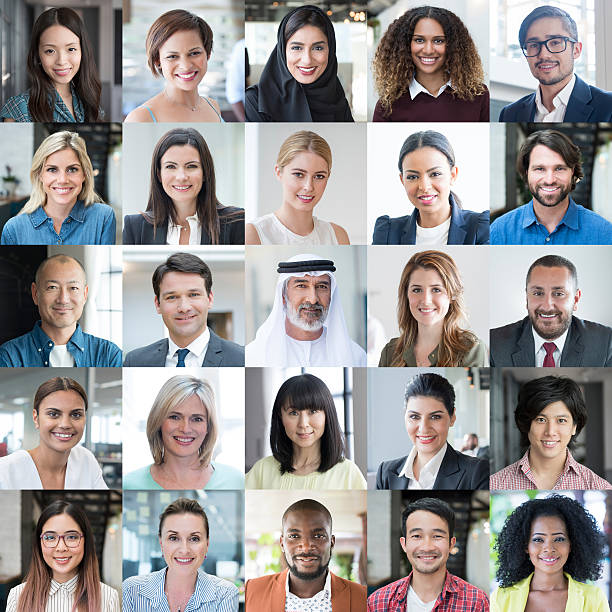 diverse people smiling - headshot portraits collage - head stock photos and pictures