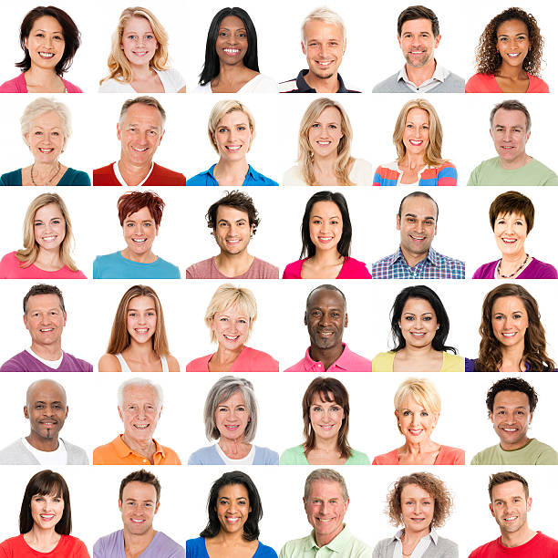 diverse people smiling - head stock photos and pictures