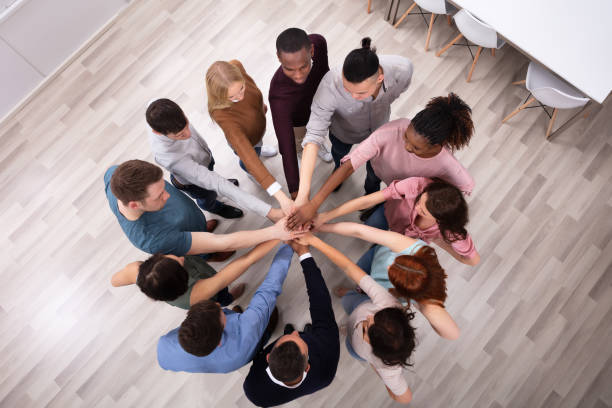 Diverse People Stacking Hand Together stock photo