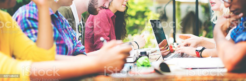 Diverse People Studying Students Campus Concept stock photo