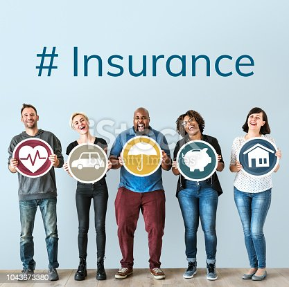 929887844 istock photo Diverse people with insurance protection plan 1043673380